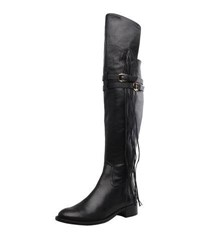 Carrano Della Knee High Fringed Leather Boots Black