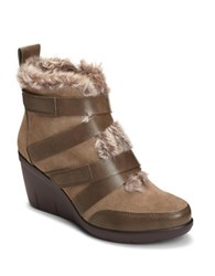 Aerosoles Interview Faux Fur Trimmed Suede Ankle Boots Taupe