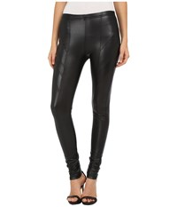 Plush Fleece Lined Liquid Moto Leggings Black Women's Clothing