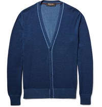 Loro Piana Cashmere And Silk Blend Cardigan Blue