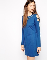 American Retro Venus Long Sleeve Dress With Embellished Neckline Blue