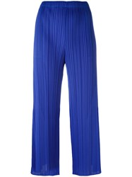 Issey Miyake Pleats Please By Pleated Flared Trousers Blue