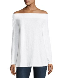 Allen Allen Long Sleeve Off The Shoulder Top White