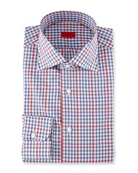 Isaia Check With Windowpane Dress Shirt Navy Red