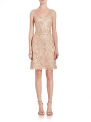Tadashi Shoji Embroidered Lace V Neck Dress Petal Gold