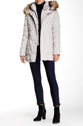 Jessica Simpson Quilted Jacket With Faux Fur Trimmed Hood White