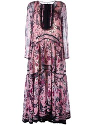 Chloe Floral Tiered Maxi Dress Pink Purple
