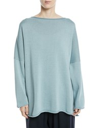 Eskandar Mercerized Cotton Long Sleeve Top Blue