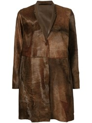Salvatore Santoro Concealed Button Coat Leather Brown