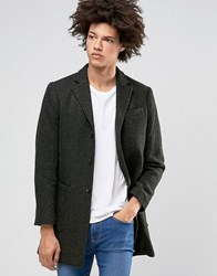 Selected Homme Wool Overcoat With Fleck Detail Dark Green