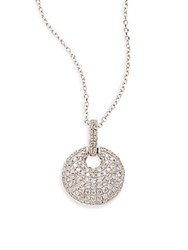Kc Designs Diamond And 14K White Gold Pave Disc Pendant Necklace