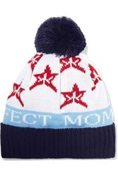 Perfect Moment Pompom Embellished Merino Intarsia Wool Blend Beanie White