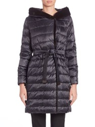 Max Mara Cube Collection Mink Fur Trim Quilted Jacket Midnight Blue