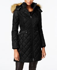 Jones New York Faux Fur Trim Quilted Down Coat Black