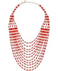 Bar Iii Gold Tone Red Baguette Multi Row Statement Necklace