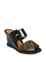 Fendi Vernis Zucca Logo Canvas And Patent Leather Wedge Slides Tobacco Black