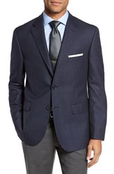 Jb Britches 'S Big And Tall Classic Fit Check Wool Sport Coat Navy