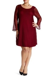 Vanity Room Bell Sleeve Mesh Check Dress Plus Size Red