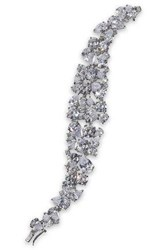 Cz By Kenneth Jay Lane Woman Cluster Rhodium Plated Crystal Bracelet Silver