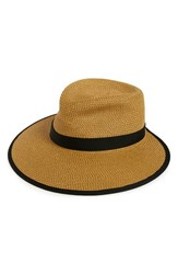 Women's Eric Javits 'Sun Crest' Packable Hybrid Fedora Visor Beige Natural Black