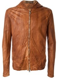 Giorgio Brato Textured Zip Up Hooded Leather Jacket