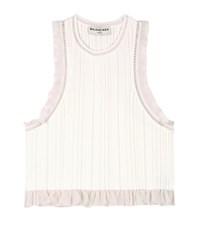 Balenciaga Ruffled Knitted Cropped Top White