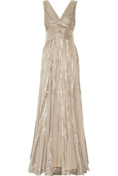 Oscar De La Renta Pleated Chiffon Paneled Silk Blend Lame Gown Silver