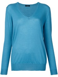 Roberto Collina V Neck Jumper Blue