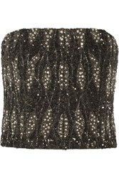 Alice Olivia Sabel Cropped Embellished Silk Bustier Charcoal