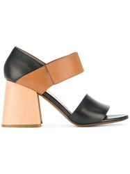 Marni Panel Block Heel Sandals Women Leather 36.5 Black