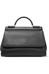 Dolce And Gabbana Sicily Medium Textured Leather Tote Black