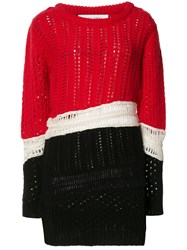 Prabal Gurung Chunky Knit Colour Block Jumper Red