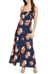 Band Of Gypsies Floral Maxi Dress Navy Coral
