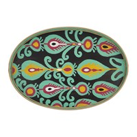 Les Ottomans Ikat Hand Painted Iron Tray Teal Paisley