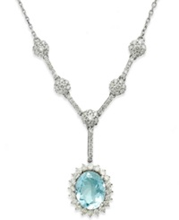 Macy's 14K White Gold Necklace Aquamarine 1 3 4 Ct. T.W. And Diamond 3 4 Ct. T.W. Drop Pendant