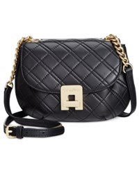 Calvin Klein Quilted Mini Saddle Crossbody Black Gold