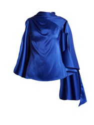 Osman Adena Satin Draped Scarf Top Blue