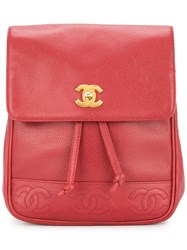 Chanel Vintage Cc Logos Chain Backpack Red