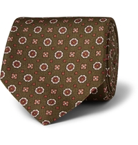 Alfred Dunhill Patterned Mulberry Silk Tie Green