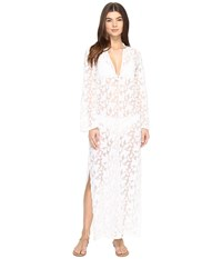 Nicole Miller La Plage By Long Sleeve Caviar Embroidery Cover Up Ivory Women's Swimwear White