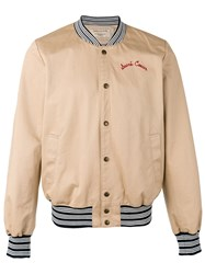 Maison Kitsune Rear Embroidered Bomber Jacket Nude Neutrals