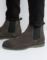 Asos Chelsea Boots In Gray Suede With Speckle Sole Gray