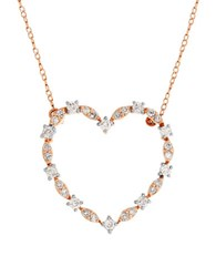 Lord And Taylor 0.75 Tcw Diamonds 14K Rose Gold Heart Pendant Necklace