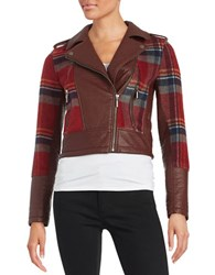 Design Lab Lord And Taylor Long Sleeve Wine Plaid Moto Jacket
