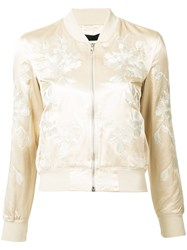 3X1 Floral Embroidery Bomber Jacket Nude Neutrals