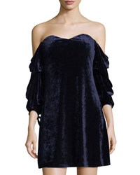 Romeo And Juliet Couture Velvet Off The Shoulder Dress Navy