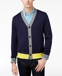 Tommy Hilfiger Men's Colorblocked Cotton Cardigan Navy