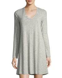 Knot Sisters Claire Long Sleeve Ribbed Dress Gray