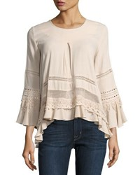 Cirana Lace Inset Bell Sleeve Top Neutral