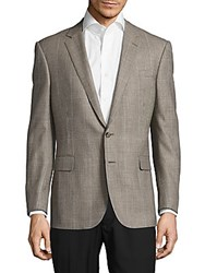 Ralph Lauren Classic Fit Plaid Wool Blend Jacket Brown Tan